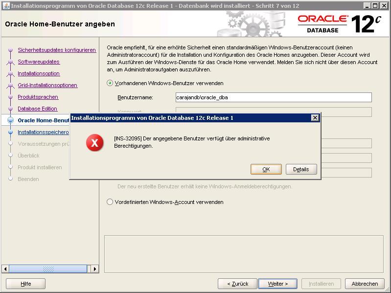03 Oracle Admin User Abgelehnt