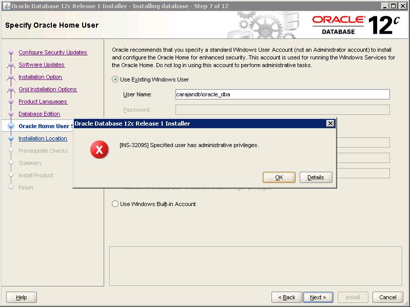 03 Oracle Admin User Denied